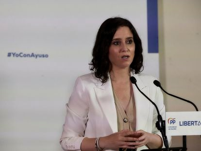 Isabel Díaz Ayuso, este martes en un acto en Alcobendas (Madrid).