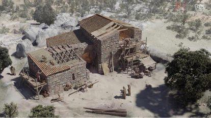 Reconstrucción del posible aspecto de la iglesia excavada por Audema en el yacimiento de La Cabilda
