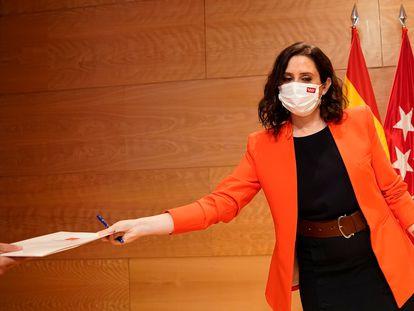 La presidenta de la Comunidad de Madrid, Isabel Díaz Ayuso, este lunes.