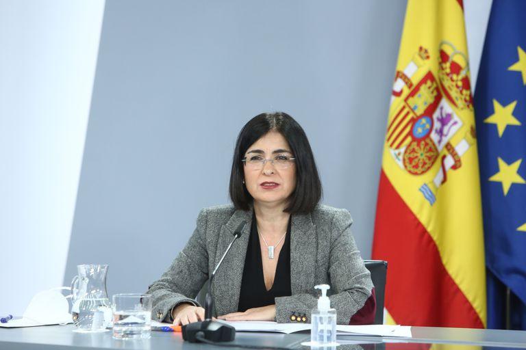 La ministra de Política Territorial y Función Pública, Carolina Darias, este lunes en una rueda de prensa.