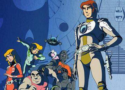 Al fondo, flotando, el profesor Simon Wright junto al resto de los personajes de Capitán Futuro