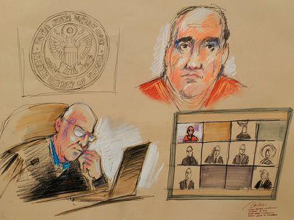 Alex Saab, se presenta ante el juez magistrado estadounidense John J. O'Sullivan por enlace de video durante su lectura de cargos en un tribunal federal en Miami, Florida.