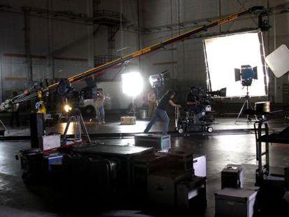 Imagen de un rodaje en los estudios de la Ciudad de la Luz, en Alicante.