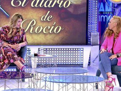 Carlota Corredera y Rocío Carrasco, este miércoles en 'Sálvame'.