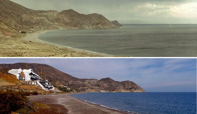 Arriba, el paraje de El Algarrobico de Carboneras (Almería) antes de que empezara a construirse el hotel en 2003. Abajo, esa misma playa, en 2015.