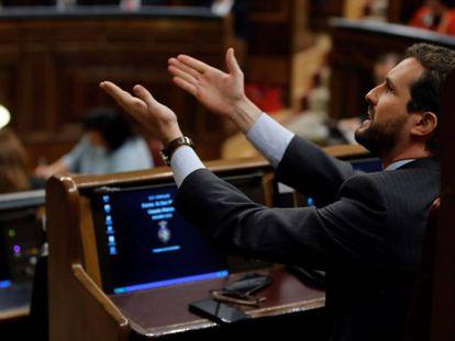 Pablo Casado, este domingo, durante el debate de investidura.