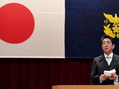 El primer ministro de Japón, Shinzo Abe, durante un discurso el pasado 17 de marzo.