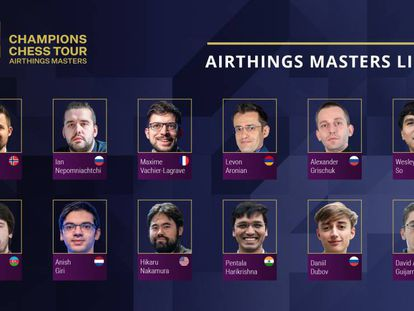 Cartel anunciador del torneo Airthings, del Champions Chess Tour
