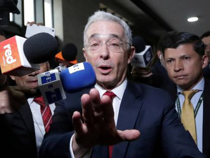 Álvaro Uribe, a su llegada a la Corte Suprema, el pasado mes de octubre.