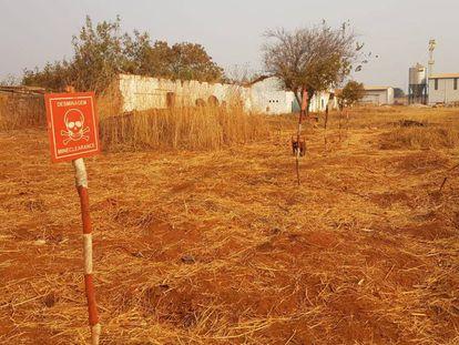 Uno de los terrenos visitados por las investigadoras en Angola, en el que aún se avisa de la presencia de explosivos.