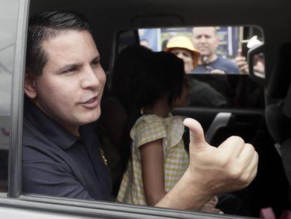 Fabricio Alvarado, este sábado, en Lomas del Río.