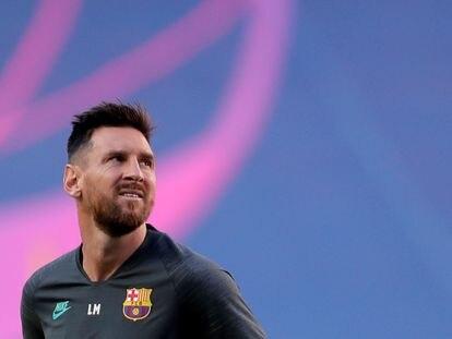 Messi, durante el entrenamiento del Barcelona en Lisboa.