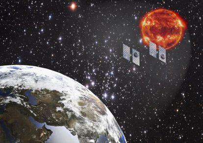 La ilustración muestra como dos sombrillas podrían reducir la radiación solar sobre la Tierra (la imagen no está a escala).