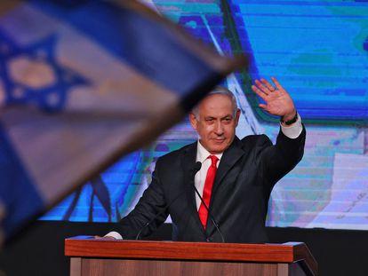 Benjamin Netanyahu celebra los resultados electorales.
