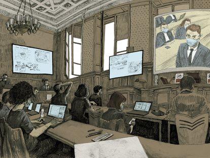 Ilustración de Ivan Brun del juicio por los atentados de París para el diario 'Le Monde'.