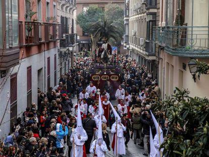 Procesión de Nuestro Padre Jesús del Amor, este domingo, en Madrid.