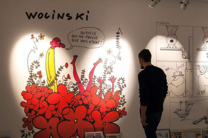 Obra del dibujante Wolinski, asesinado en la masacre de 'Charlie Hebdo', en una muestra que repasa en Angulema la historia de la revista.