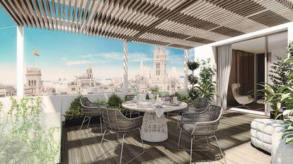 Recreación de la terraza del ático de tres plantas que se vende en la calle Montalbán por casi 14 millones de euros.