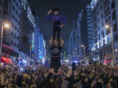 Manifestación del 8-M en la Gran Vía de Madrid.