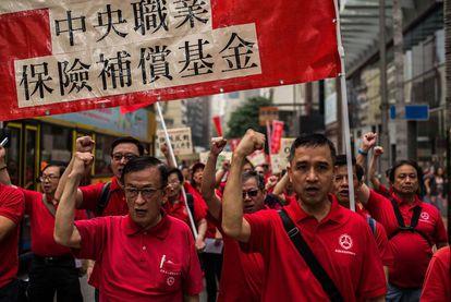 Manifestación por el Día del Trabajo en Hong Kong,.