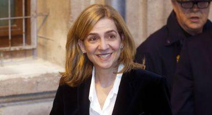 Cristina de Borbón después de testificar ante el juez Castro, en febrero.