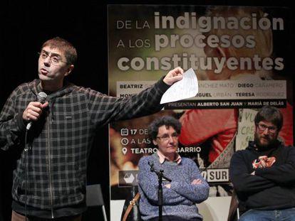 Juan Carlos Monedero durante el acto del segundo aniversario de Podemos en el Teatro del Barrio en Madrid.