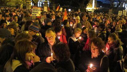 Protesta en Dublín en 2012, tras la muerte de una mujer a la que se le impidió abortar.