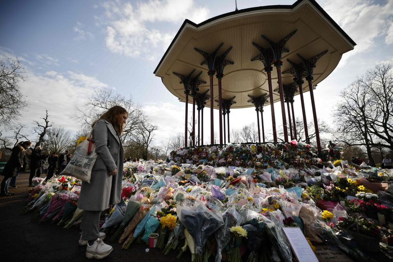 A woman at the Sarah Everard tribute shrine in South London on Monday.