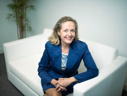 La vicepresidenta primera y ministra de Asuntos Económicos, Nadia Calviño, este viernes en Madrid.