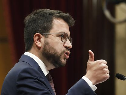 El presidente de la Generalitat, Pere Aragonès, durante el debate de política general en el Parlament.