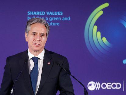 El secretario de Estado norteamericano, Antony Blinken, en la sede de la OCDE en París.