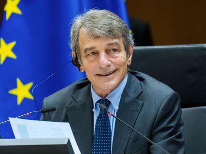 David Sassoli, el pasado miércoles en el Parlamento Europeo, en Bruselas.