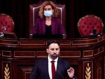 Santiago Abascal, durante su intervención en la moción de censura.
