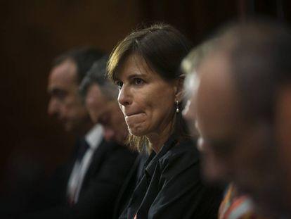 Victoria Álvarez este lunes en el Parlament.
