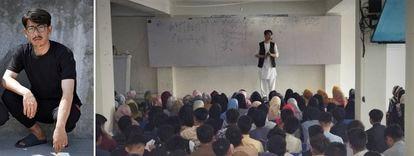 El profesor Ali Reza Faizi, retratado en Islamabad y, a la derecha, durante una de sus clases en la academia en la que un terrorista mató a 34 personas el pasado octubre.