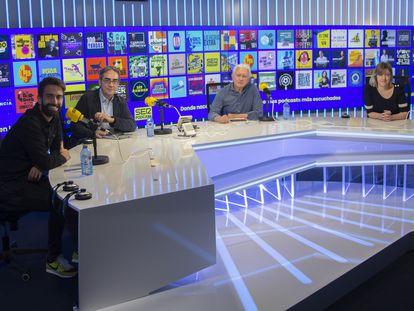 Roberto García, Luis Rodríguez, Daniel Gavela y Ana Alonso en la presentación de SER Podcast.