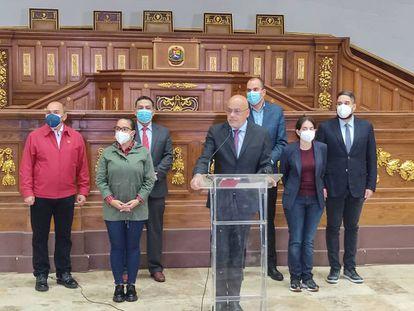 Jorge Rodríguez,, presidente de la Asamblea Nacional  de Venezuela, anuncia la decisión de incorporar al empresario Alex Saab como delegado en la mesa de negociaciones con la oposición, el 14 de septiembre de 2021.