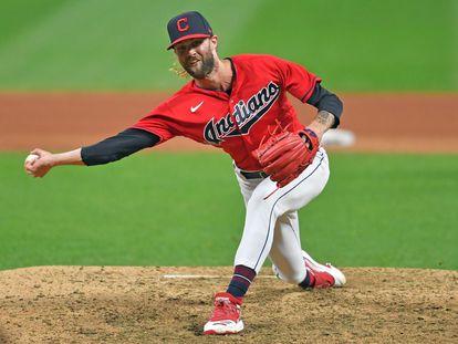 El lanzador Adam Cimber, en un partido con los Cleveland Indians en septiembre de 2019 contra los New York Yankees.