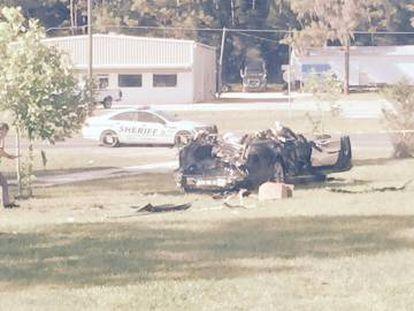 Así quedó el coche que sufrió el accidente mortal.