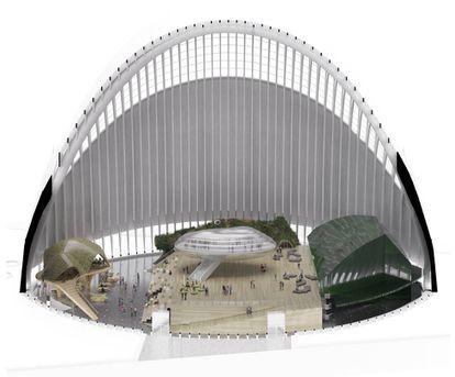 Una recreación virtual del interior del proyecto de CaixaForum dentro del Ágora.