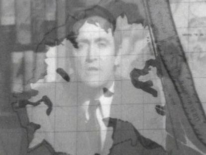 Fundido de Félix Rodríguez de la Fuente con el mapa de la Albufera en 1970.