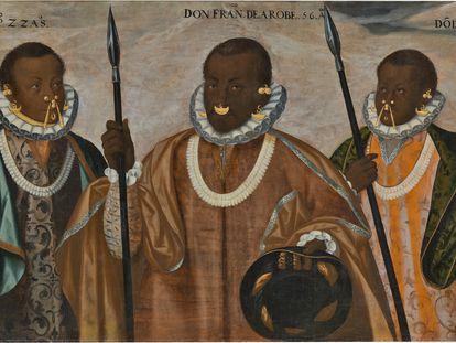 'Los tres mulatos de Esmeraldas' (1599), de Andrés Sánchez Galque, una de las obras expuestas en 'Tornaviaje', en el Museo del Prado.
