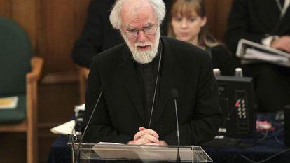 El arzobispo de Canterbury, en una reunión de urgencia esta mañana.