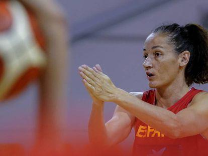 Laia Palau, en un entrenamiento en Belgrado