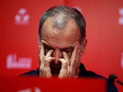 Marcelo Bielsa, en una rueda de prensa como entrenador del Lille.