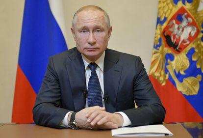 Vladímir Putin se dirige a la nación sobre la crisis del coronavirus, este miércoles.