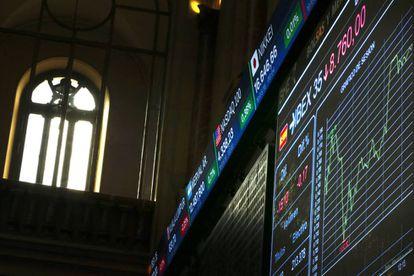 Panel informativo de la Bolsa de España