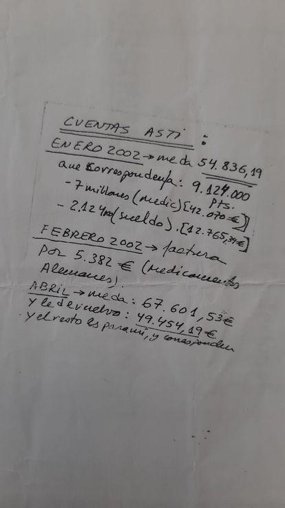 El papel manuscrito en el que Eufemiano llevaba sus cuentas con el presidente de la Real Sociedad.