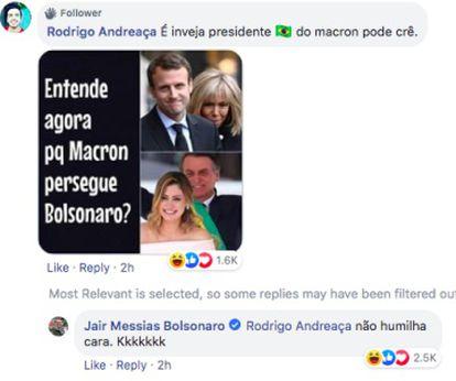 Captura de pantalla del comentario del presidente de Brasil mofándose de Brigitte Macron.