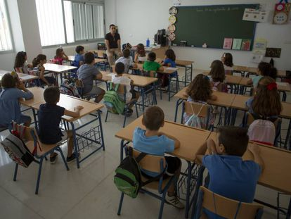 Aula de un colegio de Sevilla al inicio de este curso escolar.